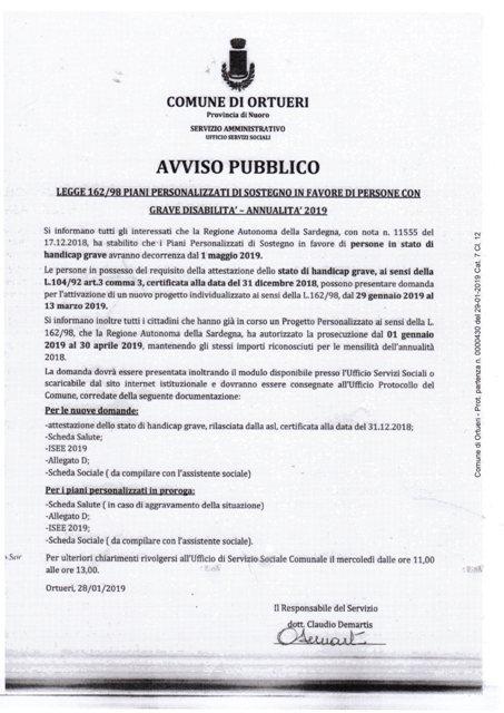 LEGGE 62/98- PIANI PERSONALIZZATI DI SOSTEGNO IN FAVORE DI PERSONE CON GRAVE DISABILITA' - ANNO 2019