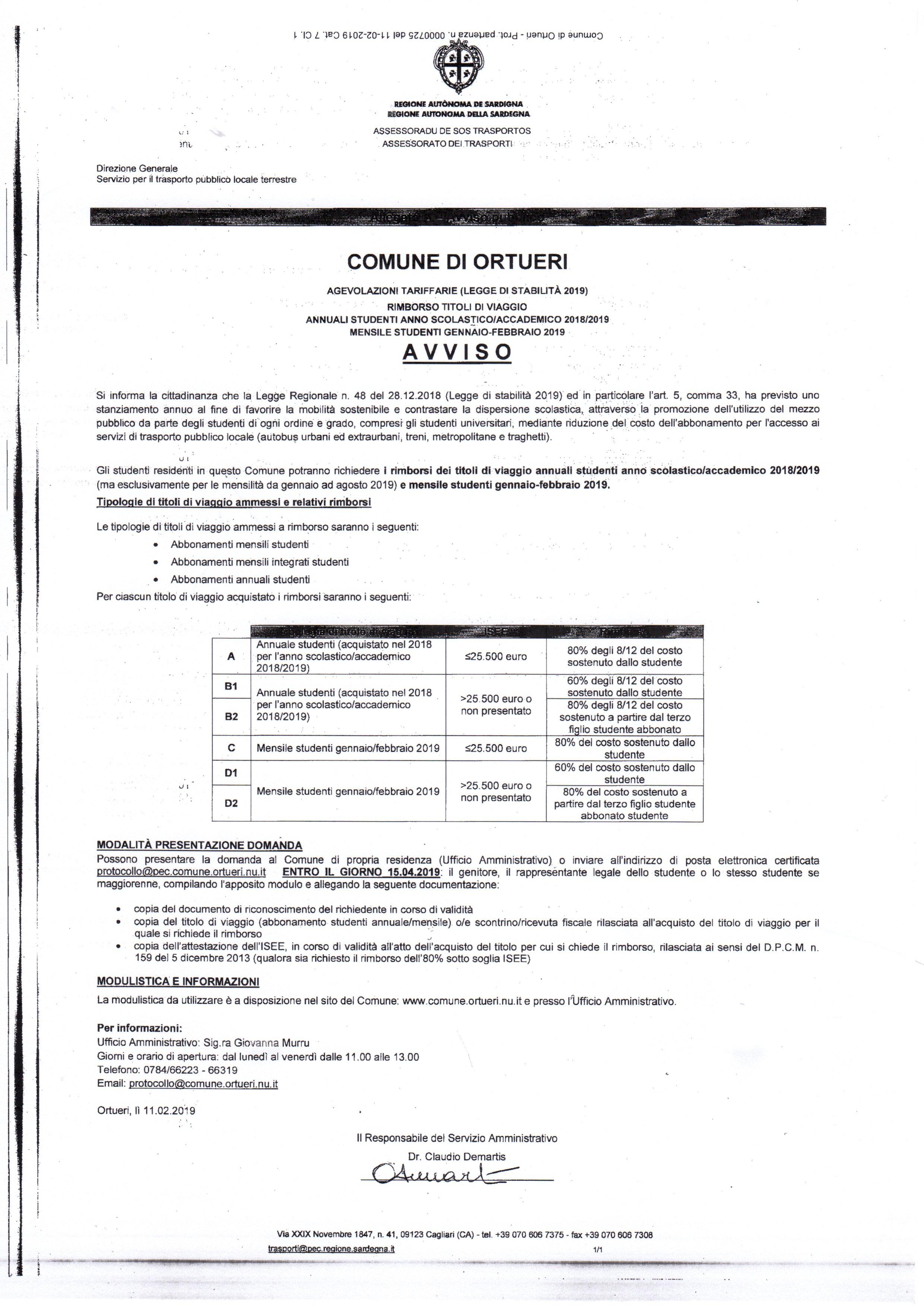 Agevolazioni tariffarie - Rimborso titoli di viaggio studenti anno scolastico/accademico 2018/2019