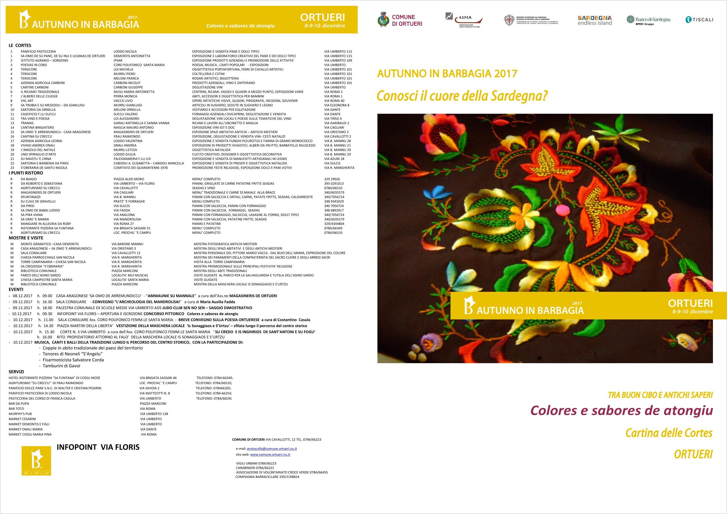 AUTUNNO IN BARBAGIA 2017    MAPPA DELLE CORTES   'Colores e sabores de atongiu'