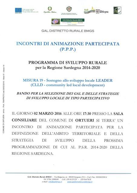 GAL-DISTRETTO RURALE BMGS- INCONTRI DI ANIMAZIONE PARTECIPATA (P.P.P.)
