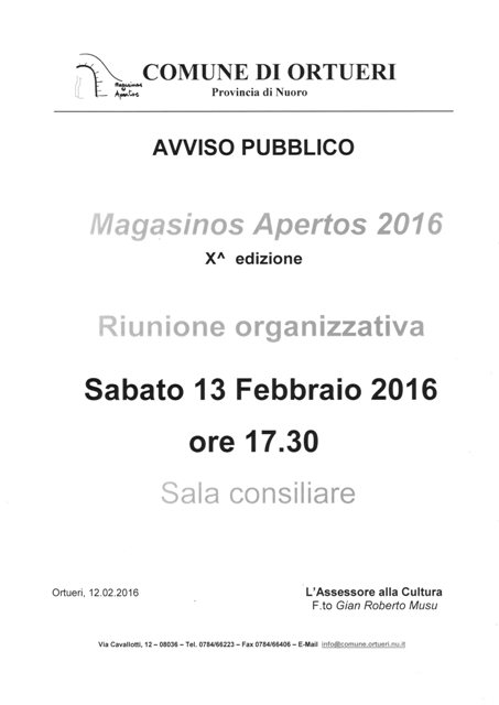 MAGASINOS APERTOS 2016 - RIUNIONE ORGANIZZATIVA